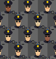 Police officers seamless pattern police stand vector image vector image