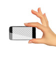 realistic 3d silhouette of hand with mobile phone vector image vector image