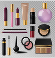 realistic cosmetic paks make-up bottle luxury vector image vector image