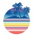 retro beach and sea waves vector image vector image