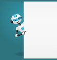 robot behind an empty white board pointing vector image vector image