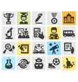 school education set black icons signs and vector image vector image