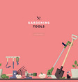 Seamless pattern and label for garden tools store