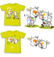 shirt with cute cow cartoon vector image vector image