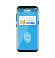 smartphone unlocked by fingerprint vector image