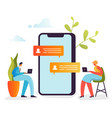 social media concept chatting in social networks vector image vector image