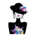 stylized woman with hat and flowers vector image vector image