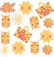 travel owl seamless pattern it is located in vector image vector image