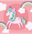 unicorn with bright stars rainbow clouds dream vector image vector image