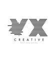 vx v x zebra letter logo design with black and vector image