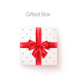 white gift box with red silk bow in realistic vector image vector image