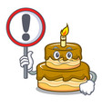 with sign birthday cake character cartoon vector image vector image