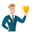 young caucasian groom holding a trophy vector image