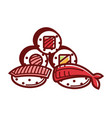 delicious fresh sushi and maki rolls isolated vector image