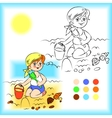 Baby on the sand coloring book vector image vector image