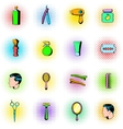 Barber shop elements icons set comics style vector image vector image