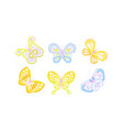 beautiful flying butterflies collection blue and vector image vector image