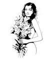beautiful woman with a bouquet of flowers drawn in vector image vector image