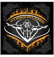 Bodybuilding emblem on dark grunge background vector image vector image