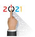 business 2021 finger push start success concept vector image