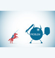 businessman riding a horse to against problem vector image vector image