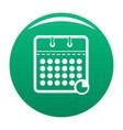 calendar business icon green vector image vector image