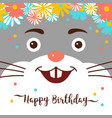 cartoon bunny happy birthday greeting card cute vector image vector image