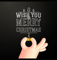 cartoon hand with little bauble shape hand vector image