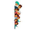 cartoon indian family peeping empty space vector image vector image