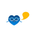 cartoon style blue heart shape character vector image vector image