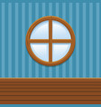 cartoon wooden round window set home interior vector image