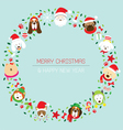 Christmas and Dog Breeds Wreath vector image vector image