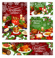 christmas dinner banner of table with xmas food vector image