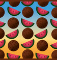 coconuts and watermelons pattern degraded vector image