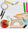 collection school supplies design vector image
