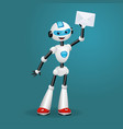 cute robot holding an envelope on blue background vector image vector image