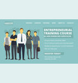 entrepreneurial training course web site page new vector image vector image