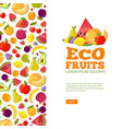fruits background template fresh healthy food vector image