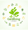 gardening signs round design template line icon vector image