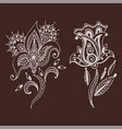henna tattoo brown mehndi flower doodle ornamental vector image vector image