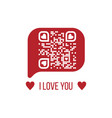 I love you text qr code in red chat bubble on