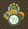 leprechaun with coin pot horseshoe clovers march vector image