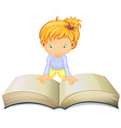 Little girl reading from big book vector image vector image