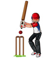 Man athlete playing cricket vector image