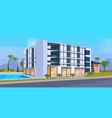 modern hotel office building exterior with large vector image