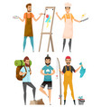 occupation and hobby men leisure or work vector image vector image