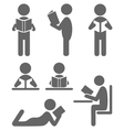 Read book people flat icons isolated on white vector image