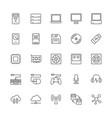 set computer components line icons system unit vector image