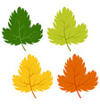 set of green yellow and red leaves vector image