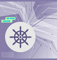 ship steering wheel icon on purple abstract vector image